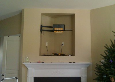 custom fireplace nook niche tv mount