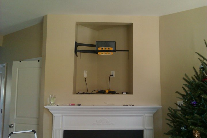 fireplace nook niche tv mounting and wire concealing rh tvmountcharlotte com Large Screen TV Mount in Corner fireplace niche tv mount