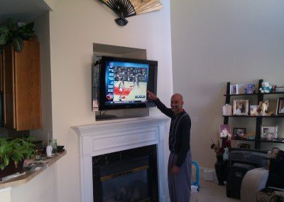 fireplace tv nook niche mounting satisfied customer