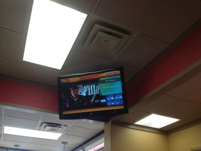 Hardee's restaurant commercial tv installation