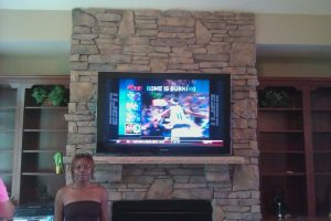 "65"" Samsung Pre-wired Stone fireplace TV mount installation Denver, NC"