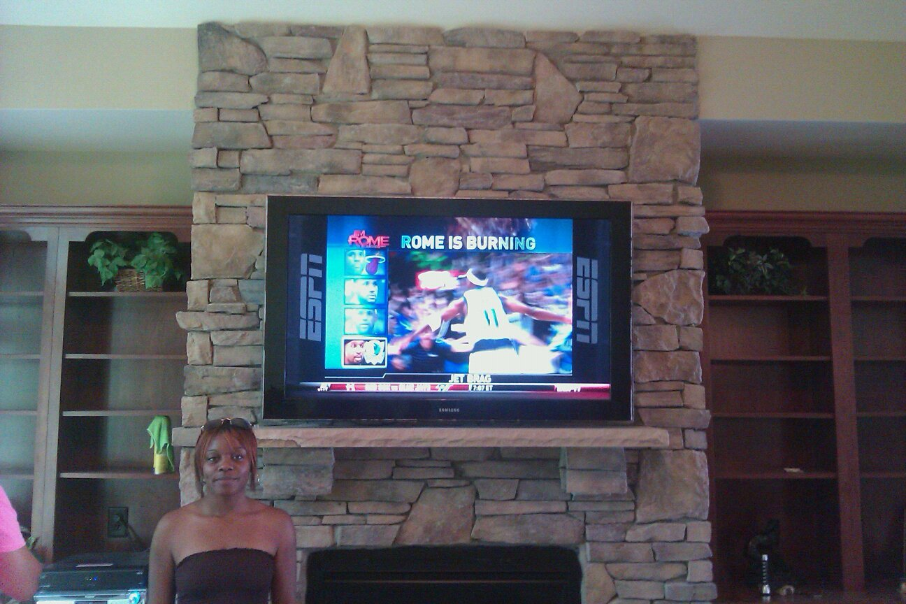 65 Samsung Pre Wired Stone Fireplace Tv Mount Installation Denver