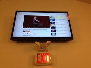 church exit door commercial tv installation
