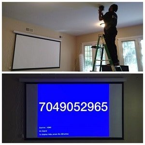 TV Mount Charlotte projector installation team