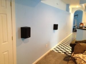 bookshelf speaker installation on the wall