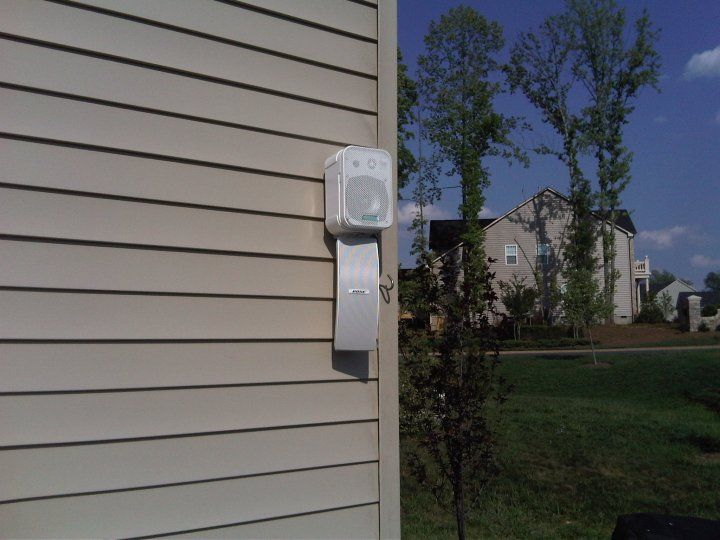 custom dual outdoor speaker installation