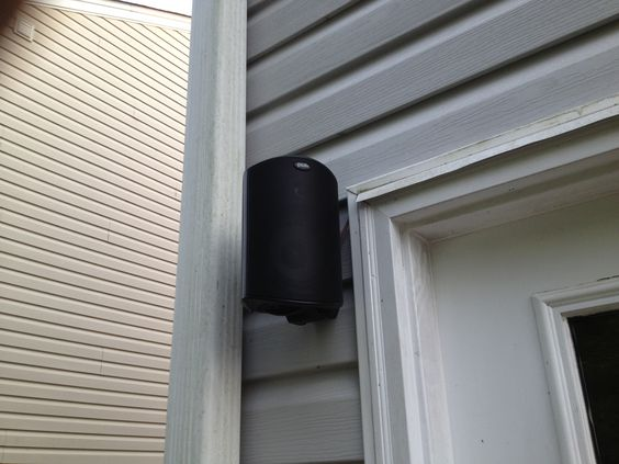 rectangle black outdoor speaker installation