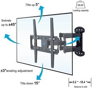 adjustable single stud TV mounting bracket