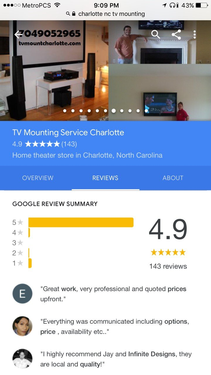 TV Mounting Service Charlotte Google Business Place Reviews Screenshot