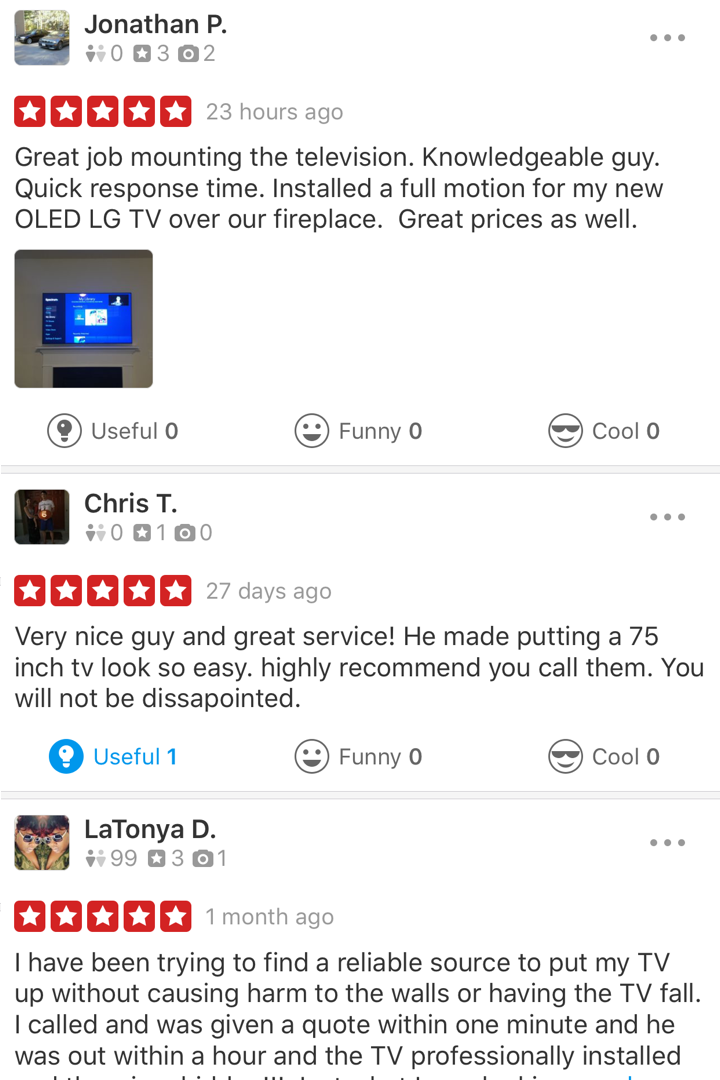 TV Mounting Service Charlotte Google Review