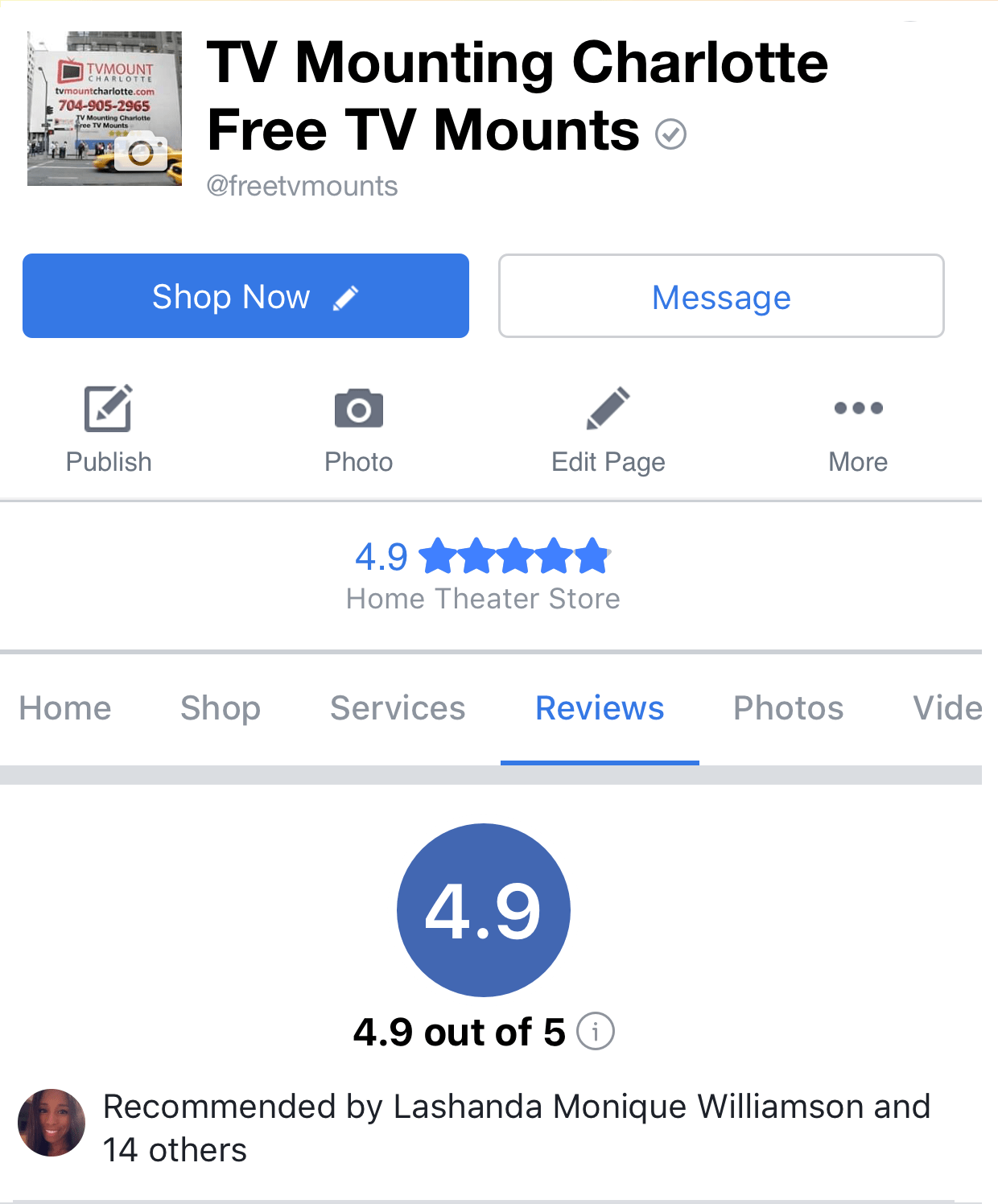 TV Mounting Service Charlotte Yelp Reviews Screenshot