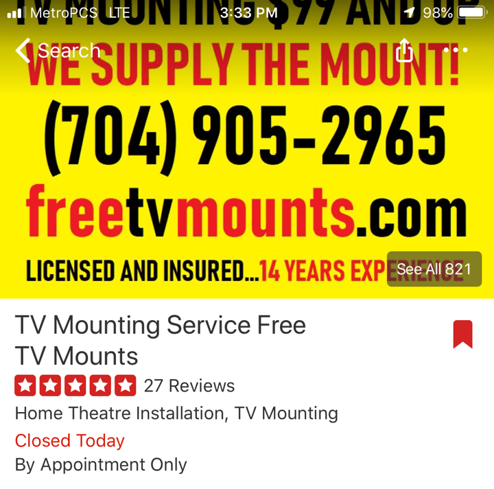 TV Mounting Service Charlotte Facebook Reviews Screenshot